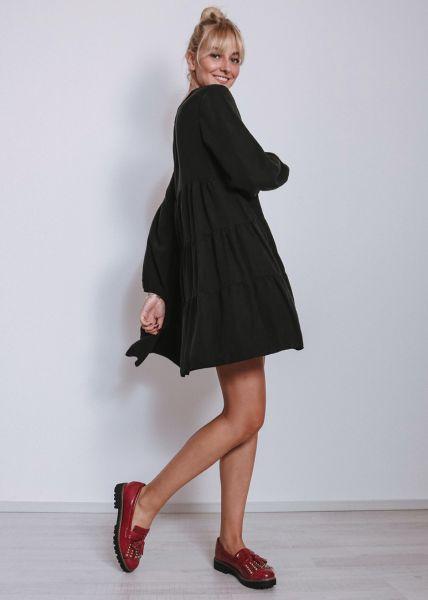 Hängerchenkleid mit Volants, schwarz