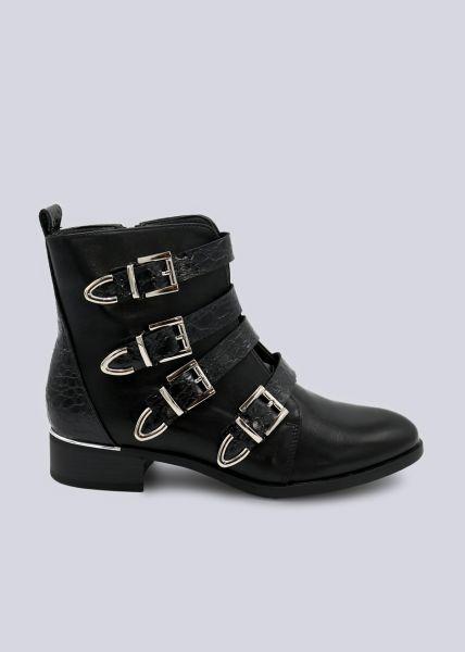 Boots mit 4 Kroko-Bändern, schwarz