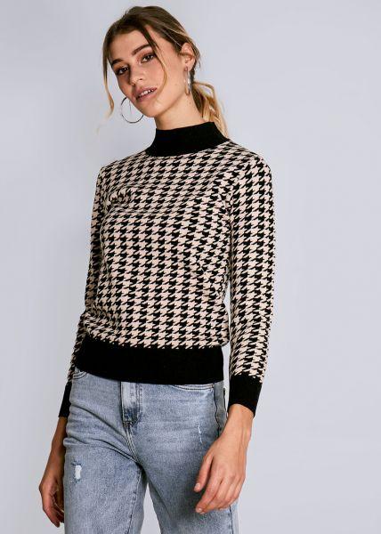 Pullover mit Hahnentrittmuster, schwarz/beige