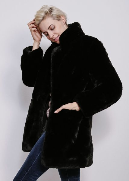 Fake Fur Jacke, schwarz