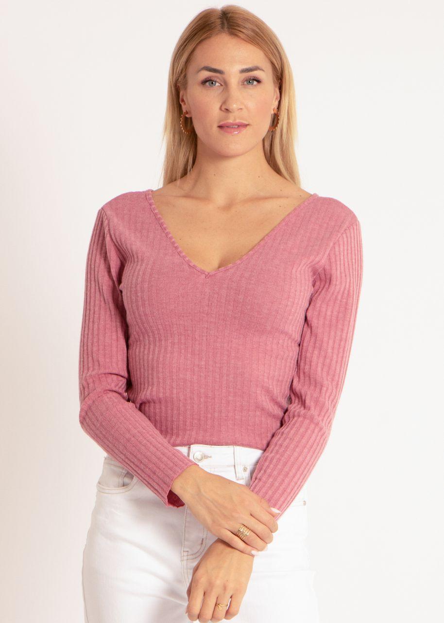 Rippen-Shirt mit V-Ausschnitt, rosa