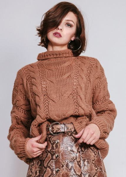 Pullover mit Zopfmuster, braun