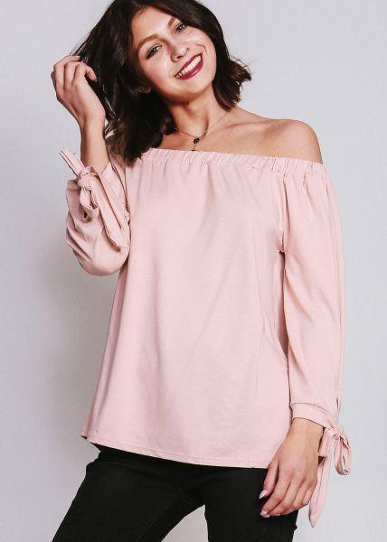 Schulterfrei Bluse aus Jersey, rosa