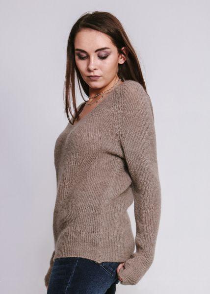 Flausch-Pullover mit V-Ausschnitt, hellbraun