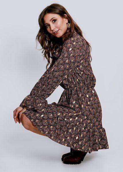 Volants-Kleid mit Print und gold Druck, weinrot