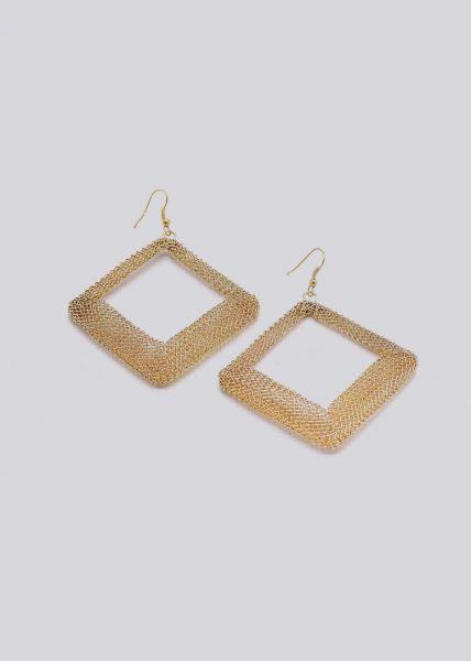 Ohrhänger mit Quadraten, gold