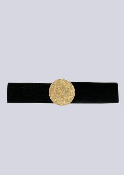 Stretch-Gürtel mit goldener Schmuckschnalle, schwarz