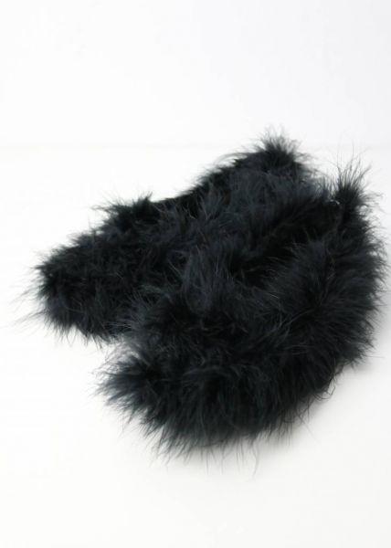Fluffy Hausschuhe, schwarz