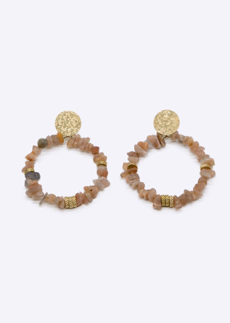 Ohrhänger mit Perlen, ocker/gold