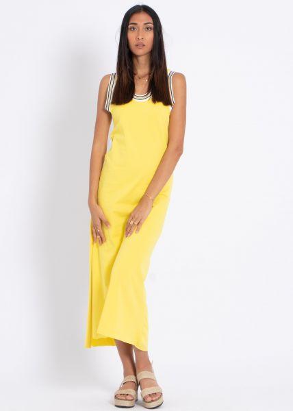 Maxi-Jerseykleid mit hohem Schlitz, gelb