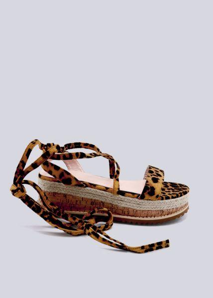 Schnür-Sandalen mit Plateau, Leo