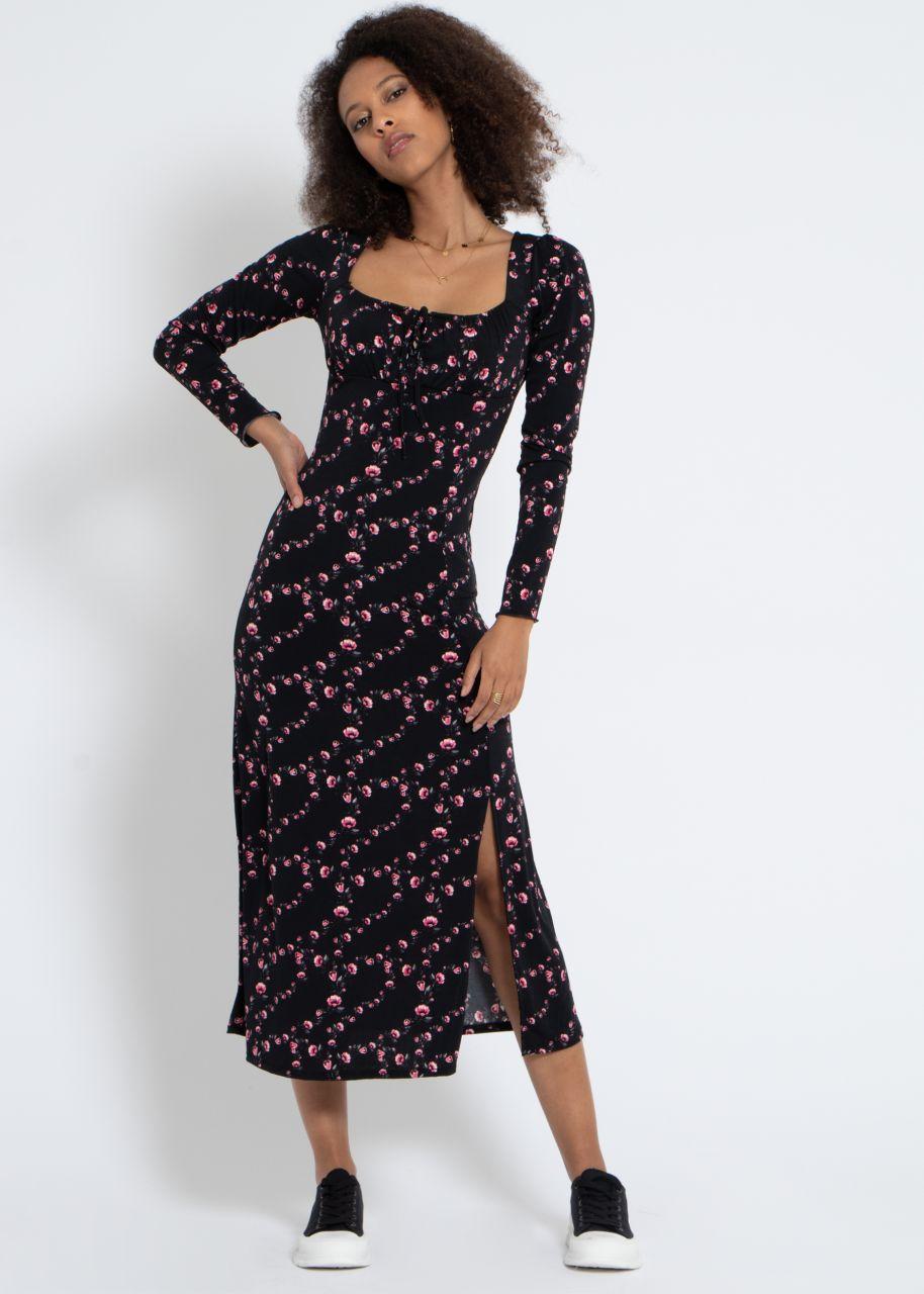 Maxi Jersey Kleid mit Blumen-Print, schwarz