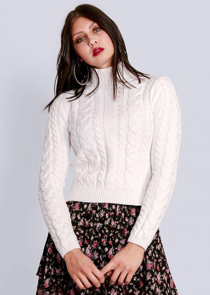 Crop-Pullover, weiß