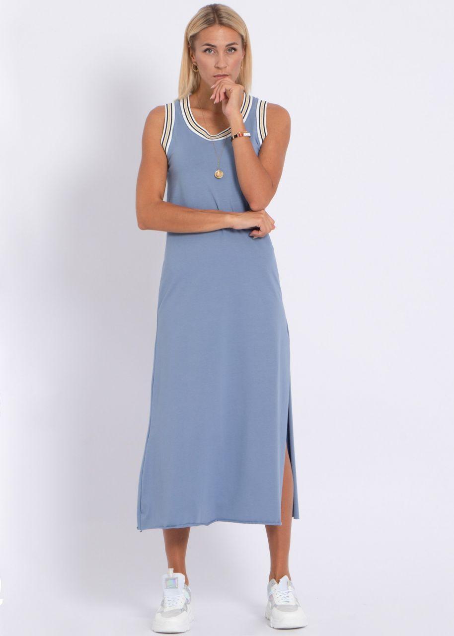 Maxi-Jerseykleid mit hohem Schlitz, blau