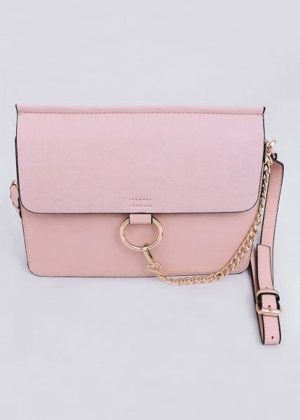 Große Umhängetasche mit Kettendetail, rosa