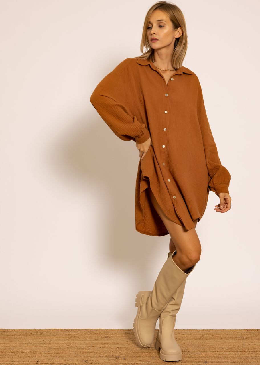 Ultra oversize Blusenhemd, cognac