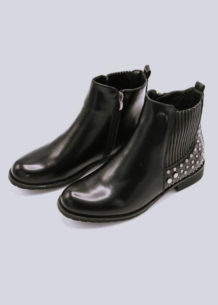 Chelsea-Boots mit Nieten, schwarz