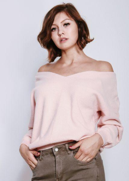 Lässiger Pullover mit V-Ausschitt, rosa