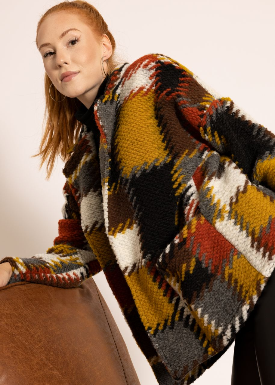 Oversize Jacke mit Patchwork-Muster