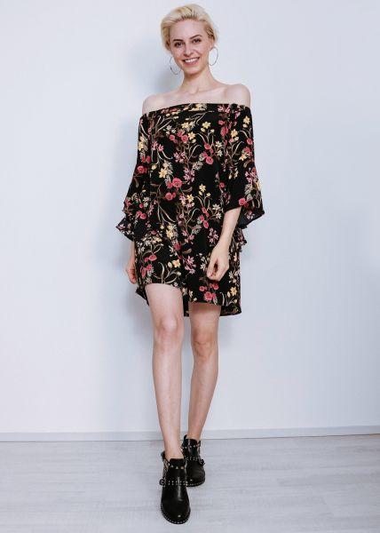 Schulterfreies Hängerchenkleid mit Blumenmuster, schwarz