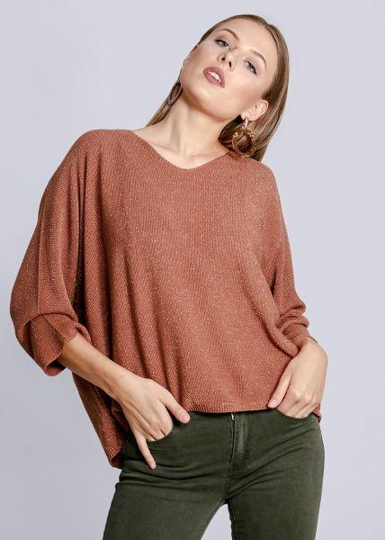 Oversize Pullover mit Lurex, camel