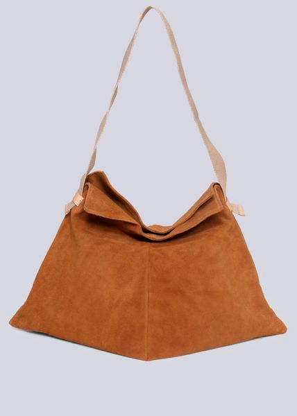 Softer Shopper aus Veloursleder, cognac