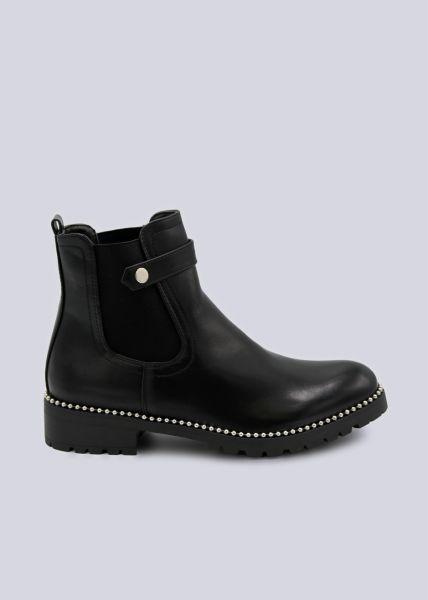 Chelsea-Boots mit Zierlasche und silbernen Perlen schwarz