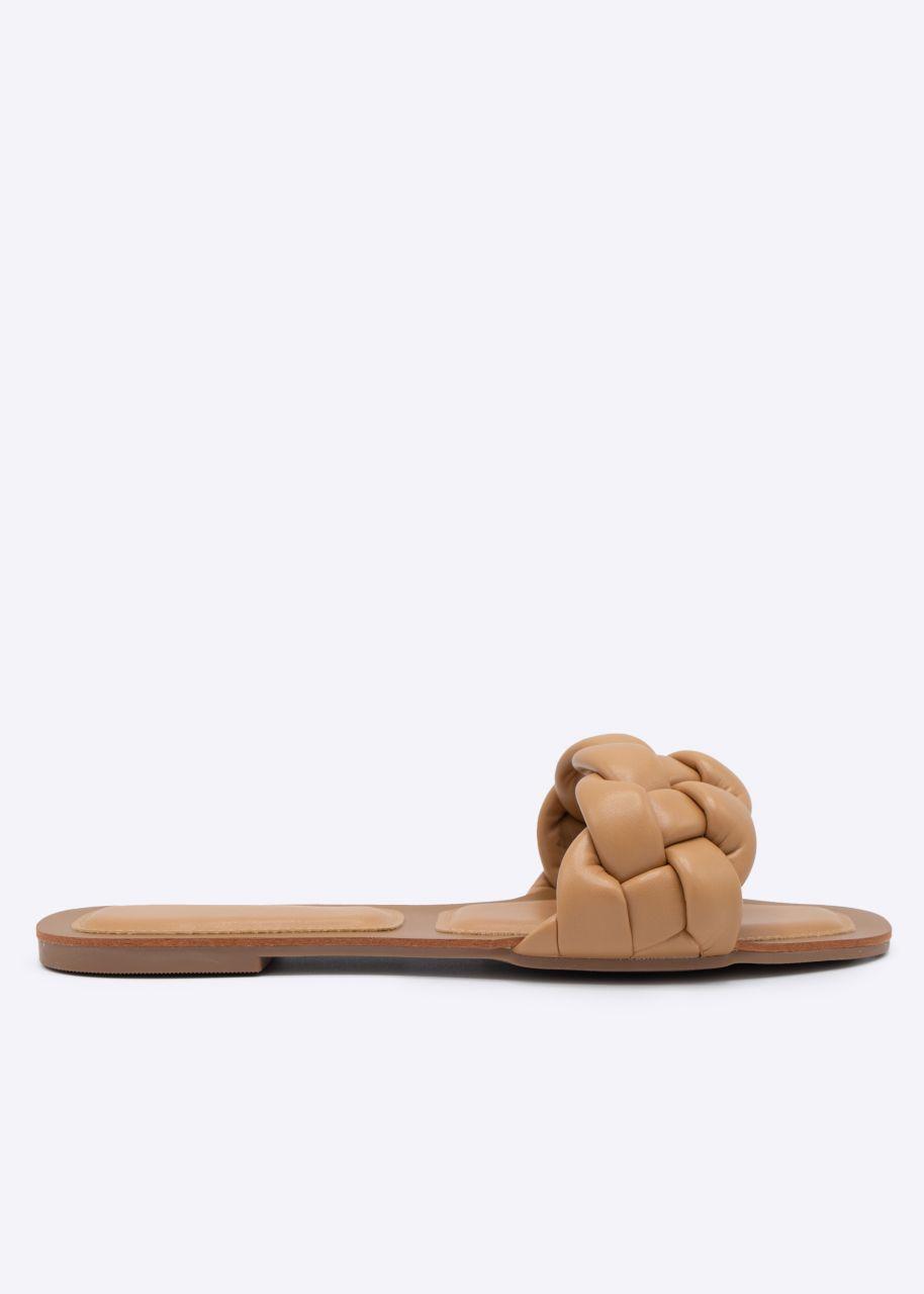 Flats mit geflochtenem Steg, camel