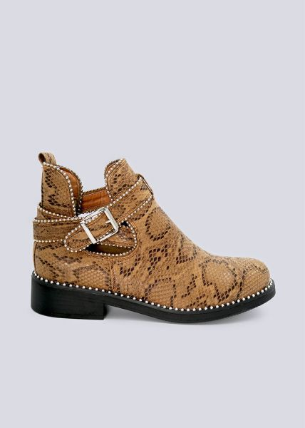 Cut-Out Booties in Snake-Optik, camel