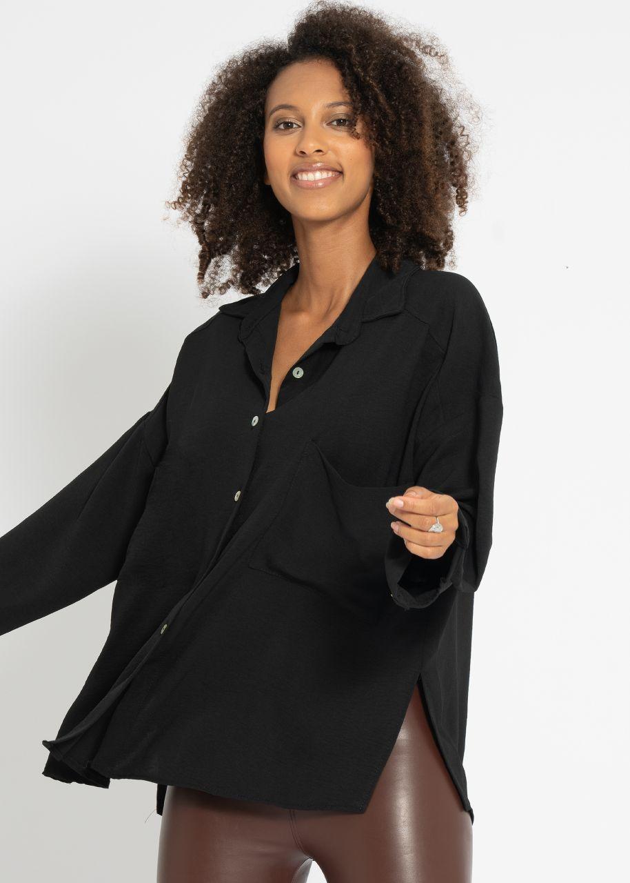 Oversize Hemdbluse mit Tasche, schwarz