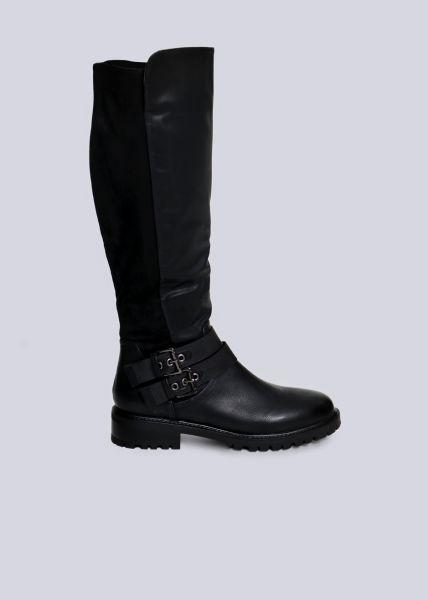 Kniehoher Stiefel mit 2 Schnallen, schwarz