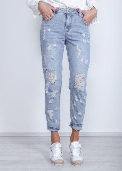 Destroyed Boyfriend-Jeans in heller Waschung