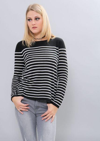 Streifen-Pullover, dunkelblau