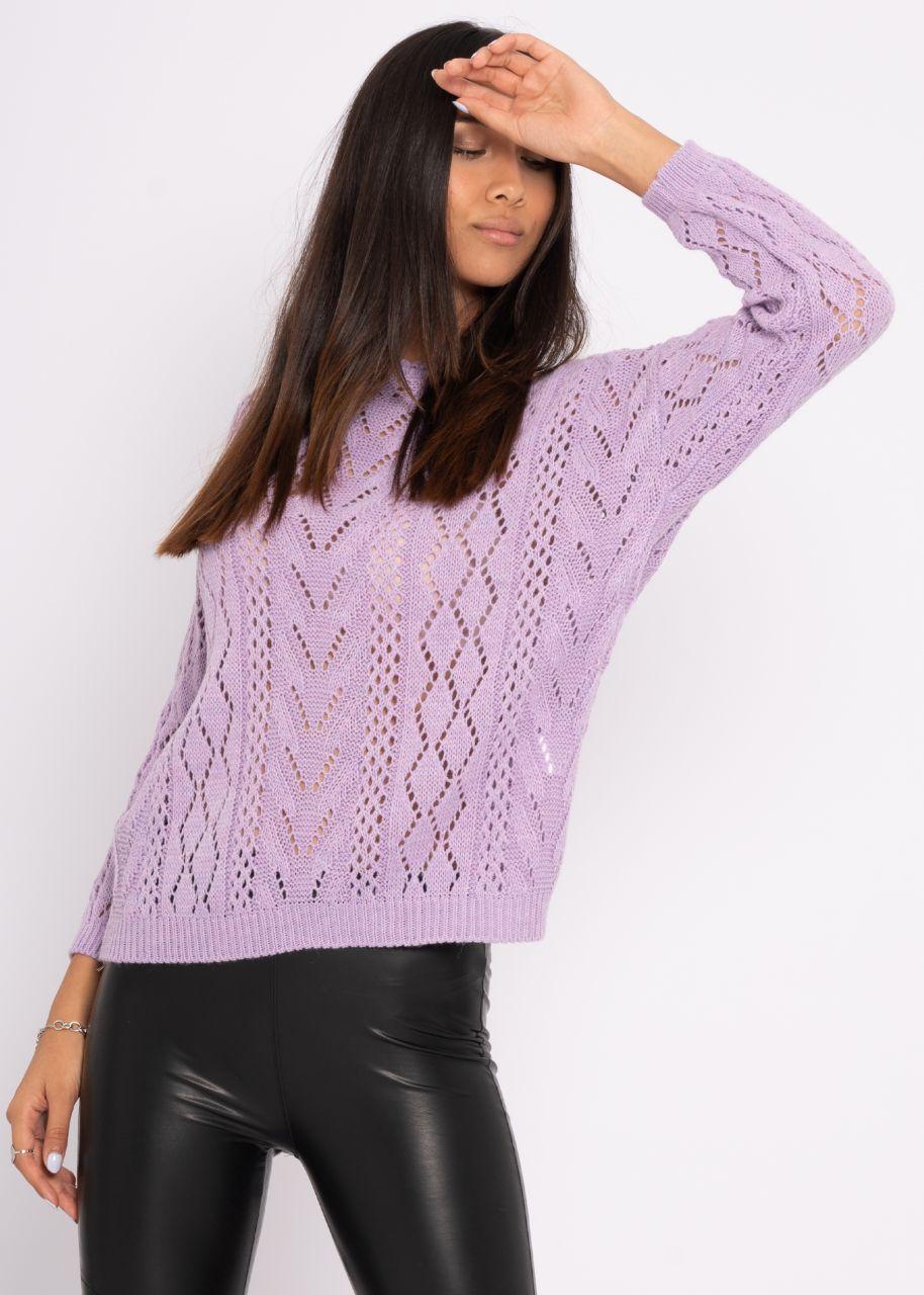 Pullover mit Muster, flieder