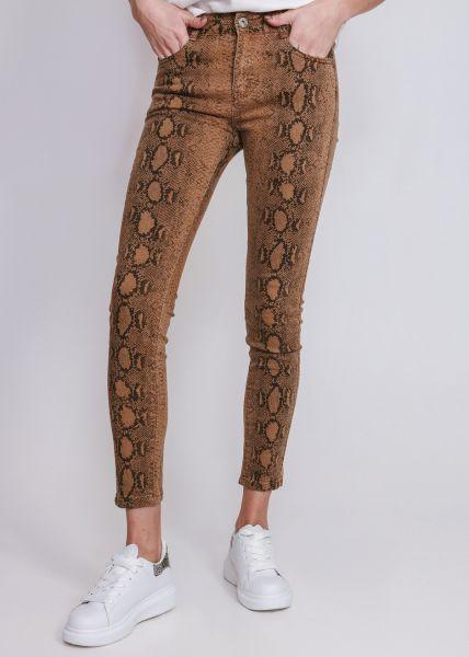 Skinny Jeans in Snake-Print, braun