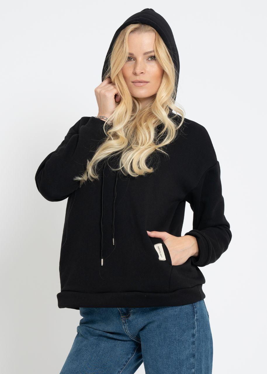 Cosy Sweatshirt mit Hoodie, schwarz