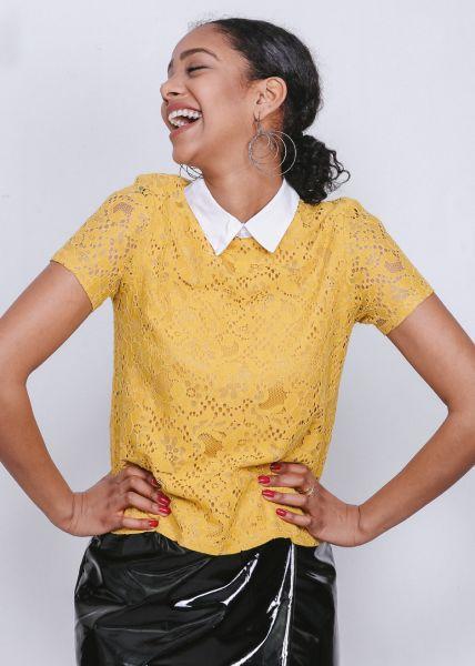 Shirt aus Spitze, gelb