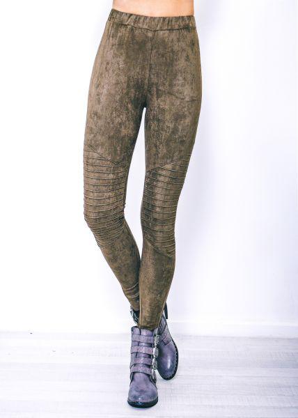 Velvet-Leggings, khaki