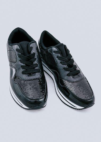 Sneaker mit Pailletten, schwarz