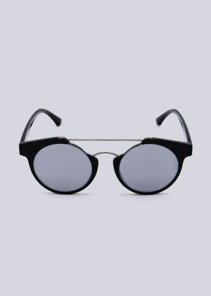 Sonnenbrille mit silbernem Steg, schwarz