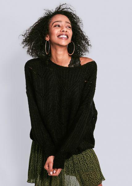 Luftig gestrickter Pullover, schwarz