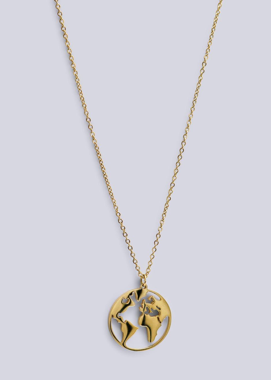 Lange Halskette Mit Welt Anhanger Gold Necklaces Jewellery