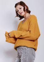 Lässiger Pullover mit V-Ausschnitt, senf