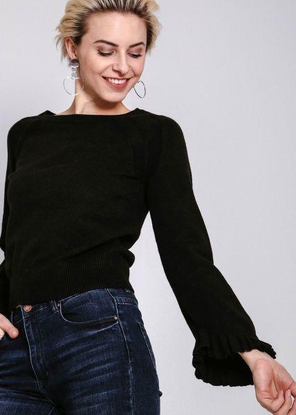 Pullover mit Rüschenärmel, schwarz