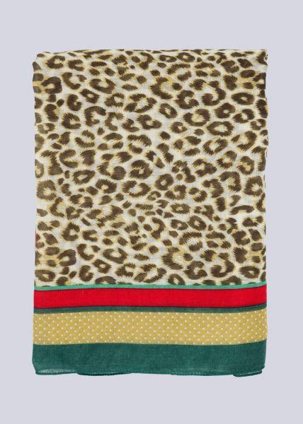 Schal mit kleinem Leo-Print, beige