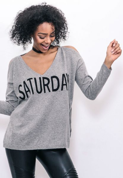 """Saturday"" Pullover mit Cut-Outs, grau"