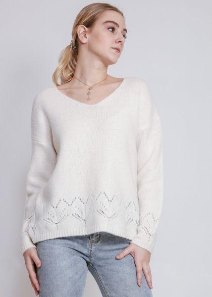Softer Pullover mit V-Ausschnitt, weiß
