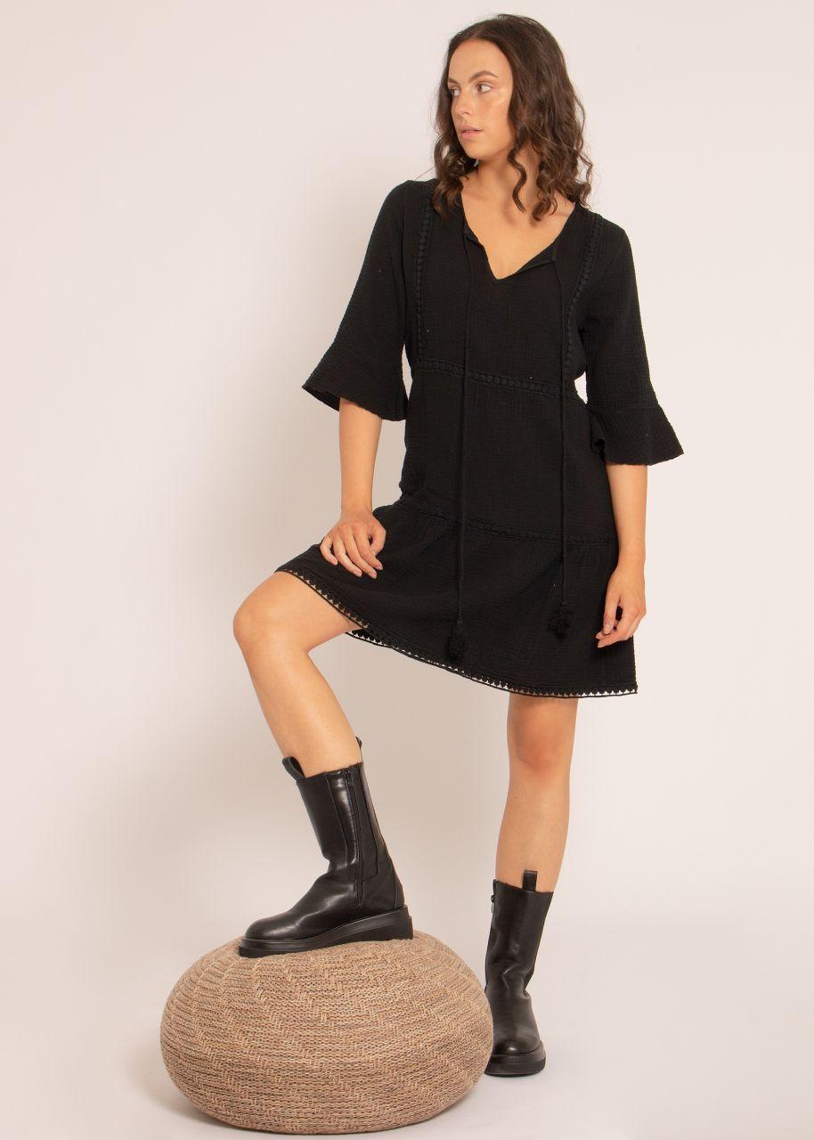 Musselin Kleid mit Spitzenborten, schwarz