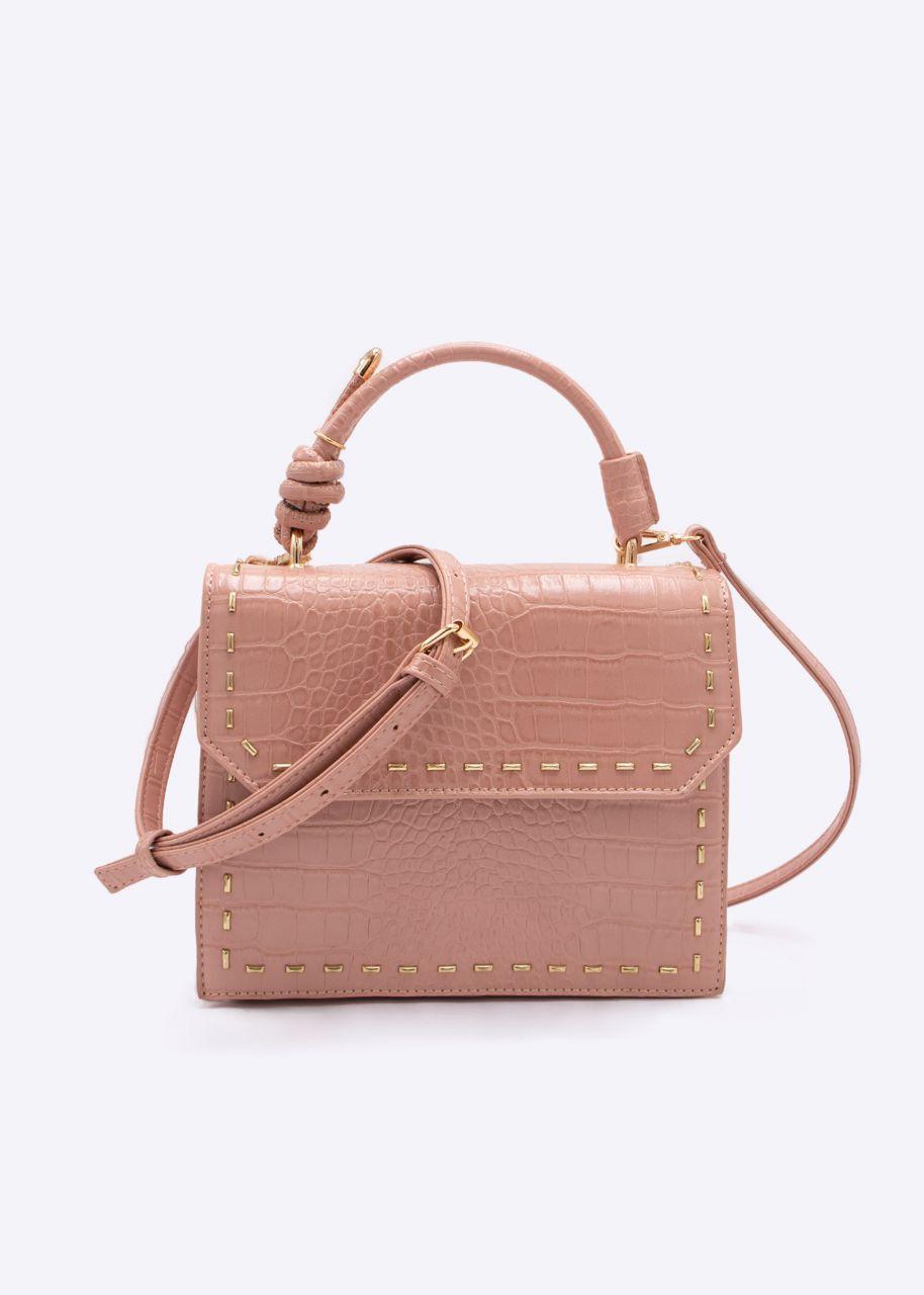 Tasche mit goldfarbenen Nieten, rosa