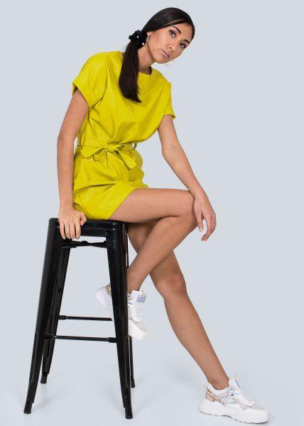 Mini-Lederkleid, gelbgrün